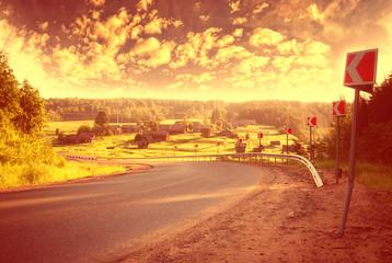 summer highway turn