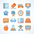 Flat vector icon set of education symbols
