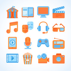 Flat vector icon set of entertainment symbols