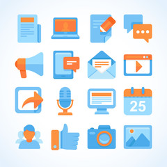 Flat vector icon set of blogging symbols