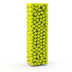 3D letter I made from tennis balls