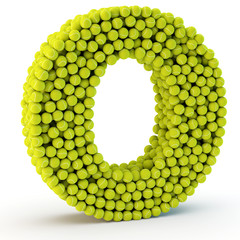 3D letter O made from tennis balls