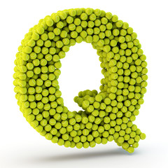 3D letter Q made from tennis balls
