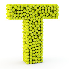 3D letter T made from tennis balls