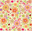 Funny childish wallpaper with ladybird