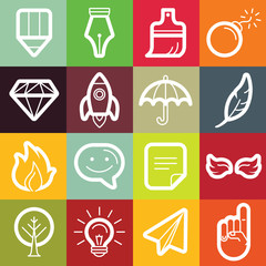 Vector flat icon set - graphic design symbols