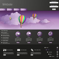 Website Template Vector /with hot air balloon in the sky