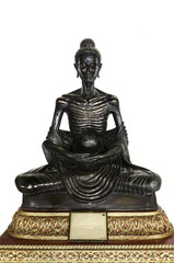 black Buddha statue posture skinny on white background