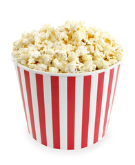 Popcorn in red and white cardboard box for cinema or TV