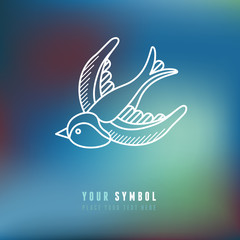 Vector swallow illustration in outline style