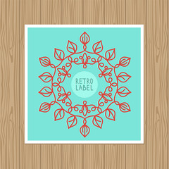 vector vintage greeting card with outline frame