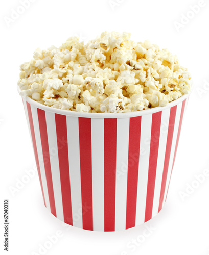 Popcorn in red and white cardboard box for cinema or TV - 67040318