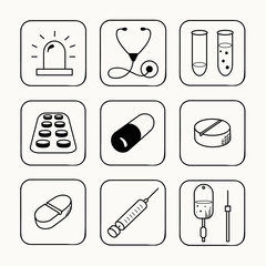 Simple medical icons set