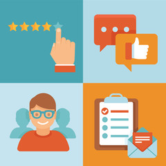 Vector flat customer experience concepts