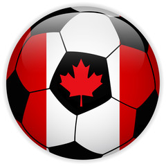 Canada Flag with Soccer Ball Background