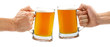 canvas print picture - cheers, two glass beer mugs isolated on white