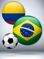 Brazil versus Colombia Flag Soccer Game
