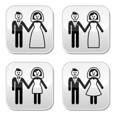 Wedding, married couple, bride and groom buttons set
