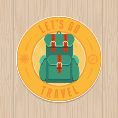 Vector vintage badge - flat icon. Travel concept