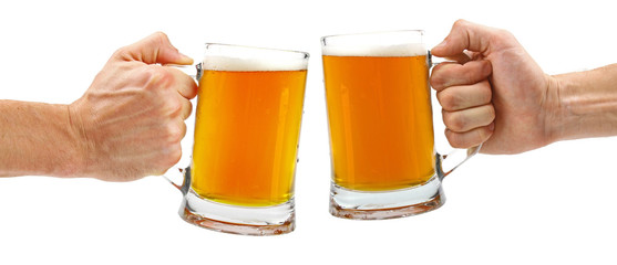 cheers, two glass beer mugs isolated on white