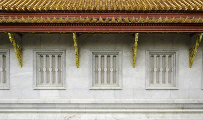 traditional thai style temple window with marble material