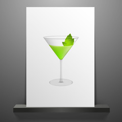 Green cocktail isolated on white Vector Eps 10