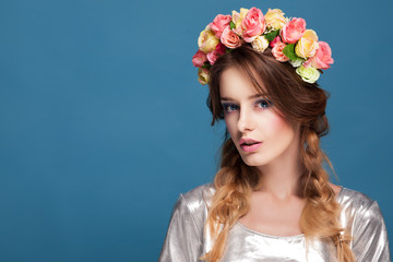 girl with a floral ornament in her hair