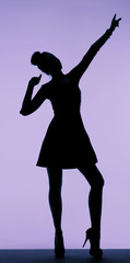 Black silhouette of the young woman