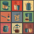 Equipment for making coffee, icons set. Vector illustration