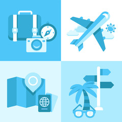 Flat vector icon set of travel symbols