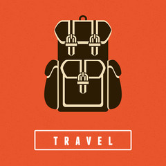 Vector backpack icon in flat style
