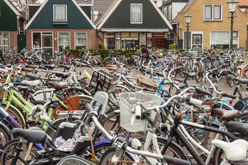 Bicycles on place in Urk town - Netherlands.