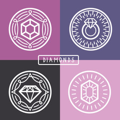 Vector jewelry signs and emblems in outline style