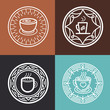 Vector coffee mugs on round emblems
