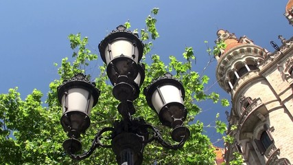 Historical street lights at the Paseo de Gracia street.