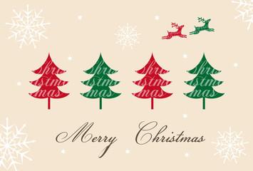 トナカイとツリーのクリスマスカード
