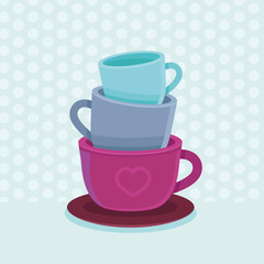 Vector stack of coffee mugs and cups