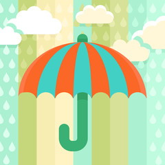 Umbrella and rain - illustration in flat style