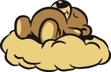 Teddybär träumt schlafen Wolke