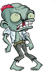 Cartoon zombie with a big head