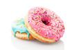 Leinwandbild Motiv Two glazed donuts isolated on white background