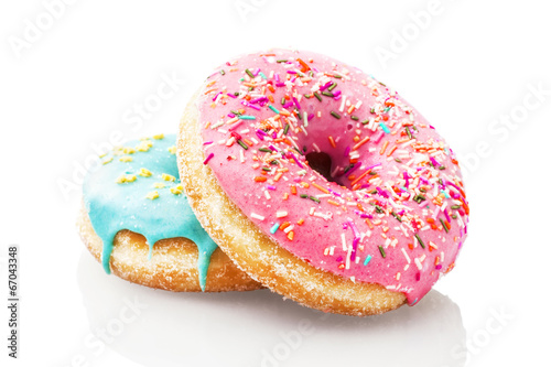 Fotobehang Bakkerij Two glazed donuts isolated on white background