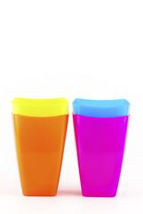 Colorful plastic glasses
