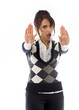 Indian businesswoman making stop gesture and showing stop