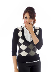 Shocked Indian young woman with hand over mouth isolated on