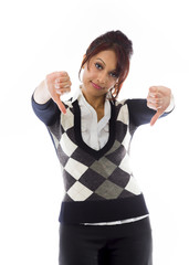 Unhappy businesswoman giving thumbs down gesture