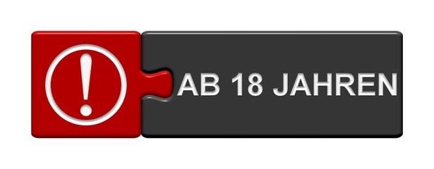 Puzzle-Button rot schwarz: Ab 18 Jahren