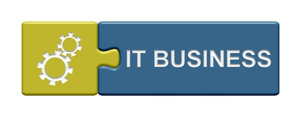 Puzzle-Button gold blau: IT Business