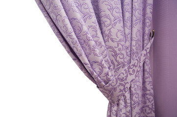 beautiful purple curtain in a classic style. isolated