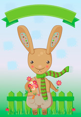 Spring greeting card with a bunny holding a bunch of daisies